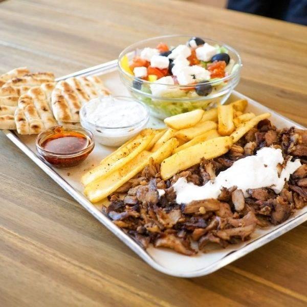 gyros with greek salad